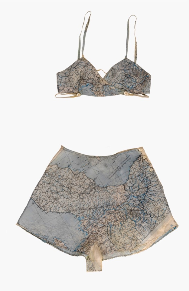 Lingerie made from outdated silk military maps.